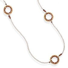 40 InchRhodium Plated Sterling Silver Necklace 14 Karat Gold Plated 3mmGarnet Bead Circle Design