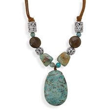 Sterling Silver 16 Inch+2 InchTurquoise and Quartz Cord Necklace