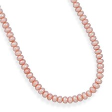 Sterling Silver 13 Inch+2 InchExtention Pink Freshwater Cultured Pearl Necklace - 13 Inch
