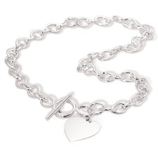 Sterling Silver 17 InchToggle Necklace Heart Tag 8mm Links With 25x22mm Engravable Heart - 17 Inch