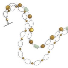 Sterling Silver 20 InchDouble Strand Multibead Necklace - 20 Inch