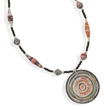 <strong>Jewelryweb</strong> Sterling Silver 16 Inch+2 InchRecycled Paper Necklace With Drop - 16 Inch