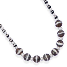 Sterling Silver 16 Inch+2 InchAgate and Freshwater Cultured Pearl Necklace - 16 Inch
