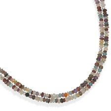 <strong>Jewelryweb</strong> Sterling Silver 16 Inch+2 InchDouble Strand Faceted Gemstone Necklace - 16 Inch