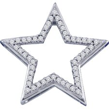 10k White Gold 0.15 Dwt Diamond Star Pendant