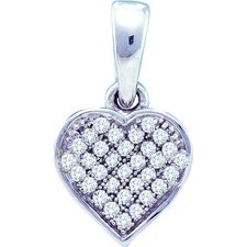 10k White Gold 0.10 Dwt Diamond Heart Pendant