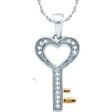<strong>Jewelryweb</strong> 10k White Gold 0.05 Dwt Diamond Key Pendant