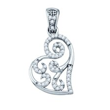 <strong>Jewelryweb</strong> 10k White Gold 0.15 Dwt Diamond Micro Pave Set Heart Pendant