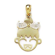 14k Yellow Gold CZ Girl Face Pendant- Measures 21x13mm- 21 Inch