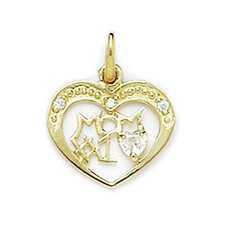 14k Yellow Gold CZ Mom Pendant- Measures 18x14mm- 18 Inch