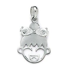 14k White Gold CZ Girl Face Pendant- Measures 21x13mm- 21 Inch