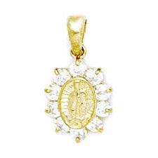 14k Yellow Gold CZ Medium Virgin Mary Pendant - Measures 20x11mm - 20 Inch
