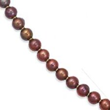 14k Yellow Elegant Round Chocolate Cultured Pearl Necklace - 7 Inch