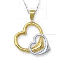 <strong>Jewelryweb</strong> Sterling Silver and 14k Entwined Heart Pendant- 18 Inch