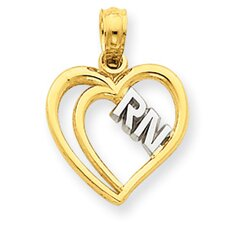 <strong>Jewelryweb</strong> 14k and Rhodium RN Heart Pendant- Measures 18.9x13.7mm