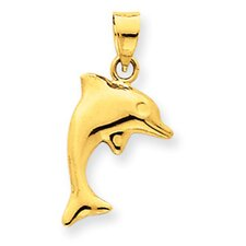 14k Dolphin Pendant- Measures 22.1x11.5mm