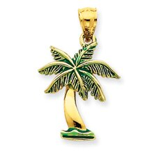 14k Enameled Palm Tree Pendant- Measures 27.6x17.1mm