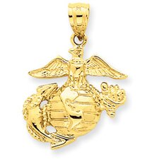 <strong>Jewelryweb</strong> 14K Large US Marine Corps Pendant- Measures 26.4x19mm