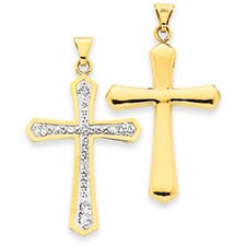 14k Reversible Crystal Passion Cross Pendant- Measures 36.1x42.9mm