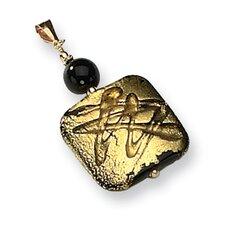 14k Square Murano Glass Bead and Onyx Pendant