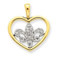 <strong>Jewelryweb</strong> 14k Two-tone Diamond Heart With Fleur de lis Pendant
