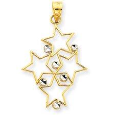 14K Two-tone Diamond-Cut Star Cluster Pendant
