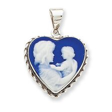 <strong>Jewelryweb</strong> 14k White Gold 16x16 Porcelain Heart Cameo Pendant