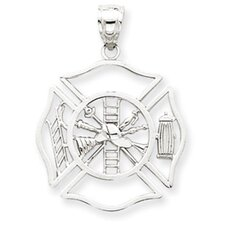 <strong>Jewelryweb</strong> 14k White Gold Fireman Shield Pendant- Pendant Size: 29.2x21.2mm