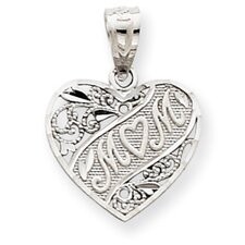 14k White Gold Mom Heart Pendant- Measures 17.5x12.8mm
