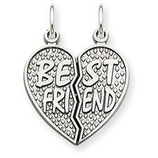 14k White Gold Polished Best Friend Heart Pendant- Measures 23x17.2mm