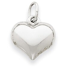 14k White Gold Puffed Heart Pendant- Measures 11.6x15.1mm