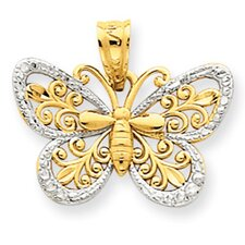 14k Yellow Rose gold Rhodium Diamond-Cut Butterfly Pendant
