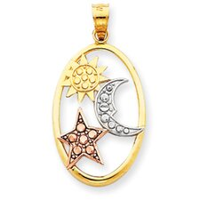 14k Yellow Rose Gold Rhodium Sun Moon  Star Oval Pendant
