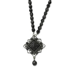 Black-plated Jet Beaded Square Pendant15 Inch Necklace