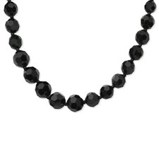 Faceted Jet Bead Graduated 32 InchNecklace