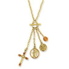 Gold-tone Cross and Angel Mock Toggle Necklace - 16 Inch