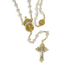 Gold-tone Crystal 20in. Wedding Rosary Necklace - 30 Inch