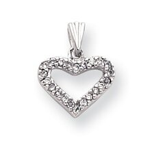 Rhodium-plated CZ Heart Necklace - 18 Inch