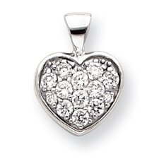Rhodium-plated CZ Pave Heart Necklace - 18 Inch