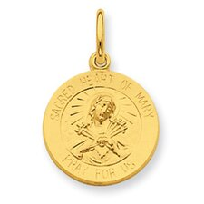 Silver 24k Gold -plated Sacred Heart Pendant of Mary Pendant