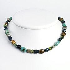 Silver Grey Green Cult. Pearls Turquoise Necklace - 16 Inch- Lobster Claw