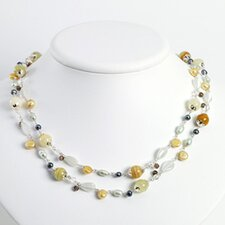 Cats Eye Cultured Pearls Quartz Yellow Jade Necklace 56 Inch- Lobster Claw