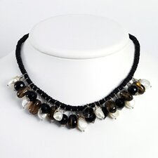 Smokey Quartz Black Bead Cultured Pearl Necklace - 15 Inch- Lobster Claw