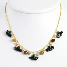 Vermeil Green Peach Cultured Pearl Tourmaline Necklace 16 In - Lobster Claw