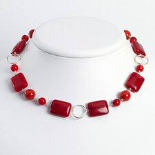 Ste. Silver Red Coral Red Agate Red Stone Necklace - 18 Inch- Lobster Claw