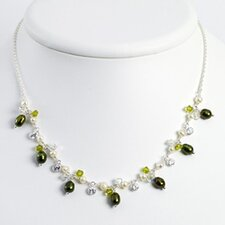 Sterling Green White Cult. Pearls Crystal Necklace - 16 Inch- Lobster Claw
