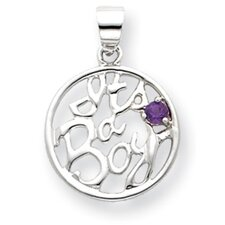Sterling Silver Amethyst Its a Boy Pendant