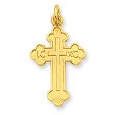 Sterling Silver and 24k Gold -plated Budded Cross Pendant