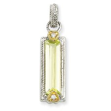 Sterling Silver and Vermeil Light Green CZ Pendant
