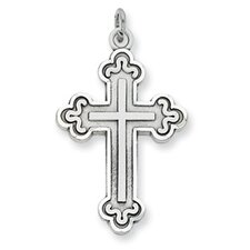 Sterling Silver Antiqued Budded Cross Pendant